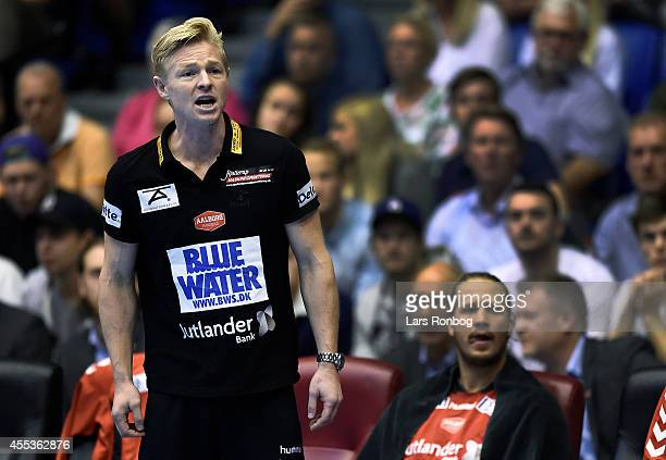 Jesper Jensen head coach of Aalborg Handbold looks on during the Danish Men's Handball Liga match between Aalborg Handbold and Skjern Handbold at...