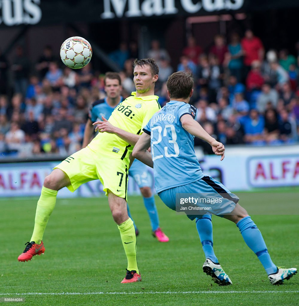 Action from the Danish Alka Superliga match between Randers FC and Esbjerg fB at BioNutria Park Randers on May 29, 2016 in Randers, Denmark.