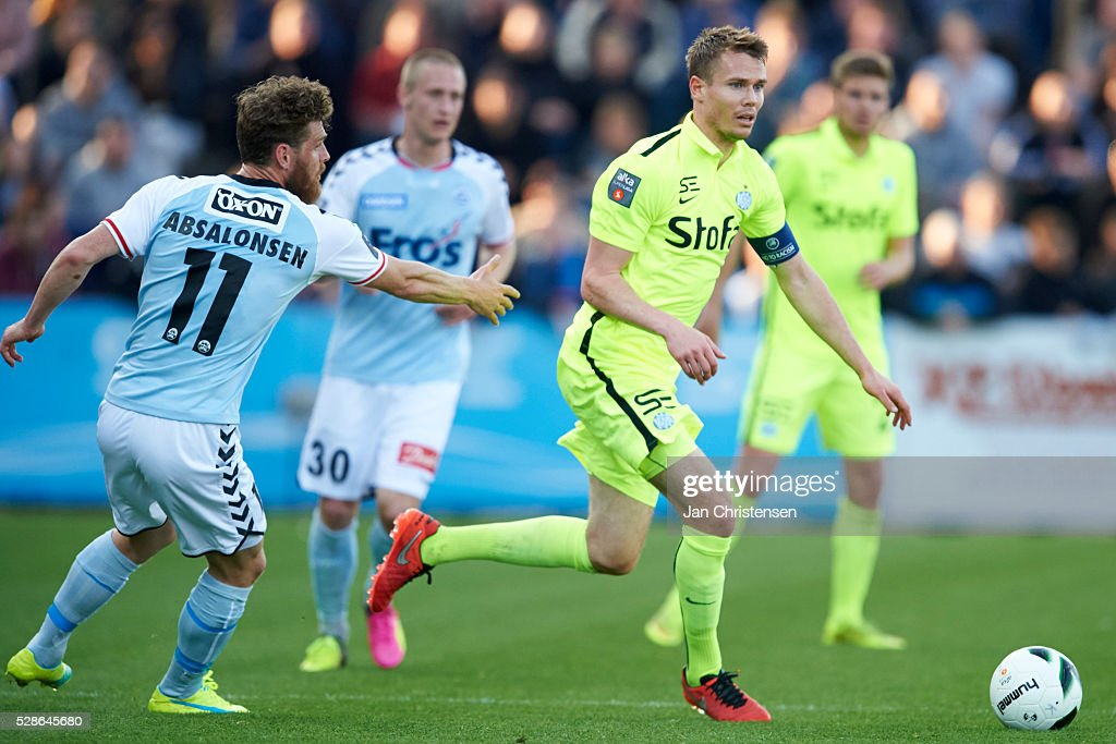 Jesper Jorgensen of Esbjerg fB controls the ball during the Danish Alka Superliga match between SonderjyskE and Esbjerg fB at Sydbank Park on May 06, 2016 in Haderslev, Denmark.