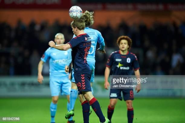 Jesper Juelsgard of AGF Arhus and Kasper Fisker of Randers FC $heading the ball during the Danish Alka Superliga match between Randers FC and AGF...