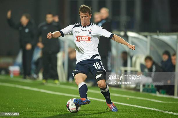 Jesper Juelsgard of AGF Arhus controls the ball during the Danish Alka Superliga match between AGF Arhus and Esbjerg fB at Ceres Park on October 31...