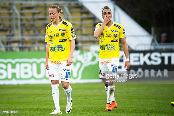 Jesper Karlsson of Falkenberg and Alexander Jakobsen of Falkenberg is dejected after the allsvenskan match between Falkenbergs FF and Ostersunds FK...