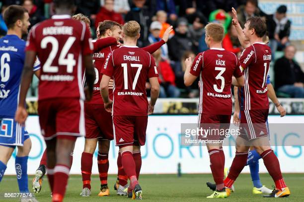 Jesper Karlstrom of Djurgardens IF celebrates after scoring during the Allsvenskan match between GIF Sundsvall and Djurgardens IF at Norrporten Arena...