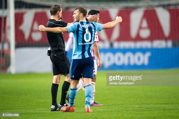 Jesper Karlstrom of Djurgardens IF celebrates after the victory during the allsvenskan match between Kalmar FF and Djurgarden IF at Guldfageln Arena...