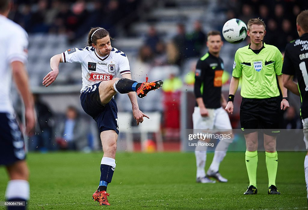 Jesper Lange of AGF Aarhus scores the 1-2 goal during the Danish Alka Superliga match between AGF Aarhus and Viborg FF at Ceres Park on April 29, 2016 in Aarhus, Denmark.