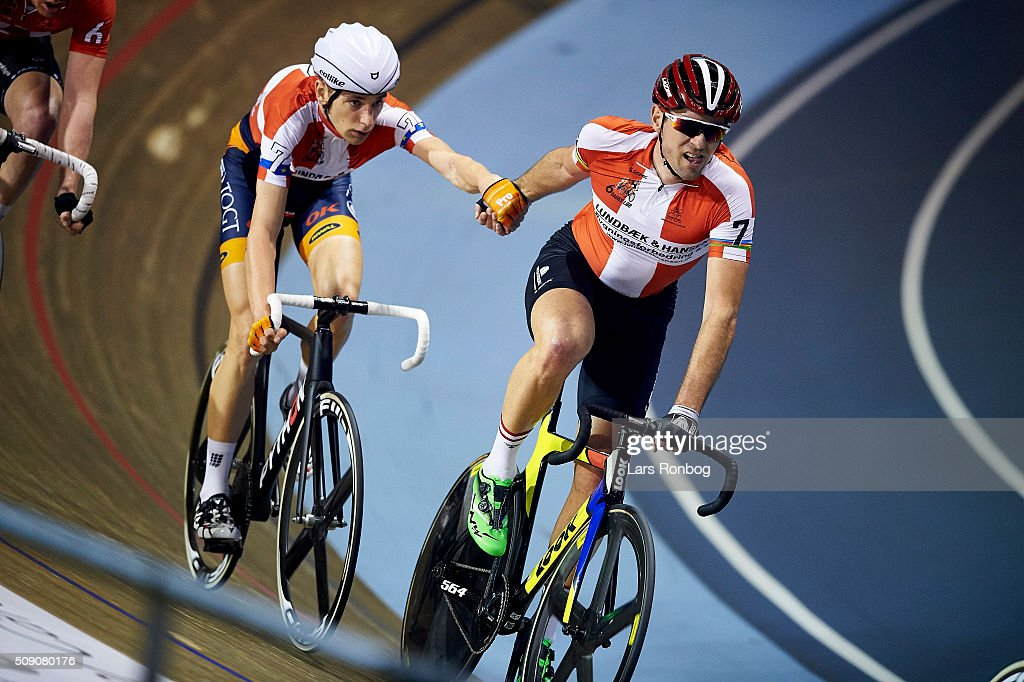 Jesper Morkov and Alex Rasmussen in action during day five at the Copenhagen Six Days Race Cycling at Ballerup Super Arena on February 8, 2016 in Ballerup, Denmark.
