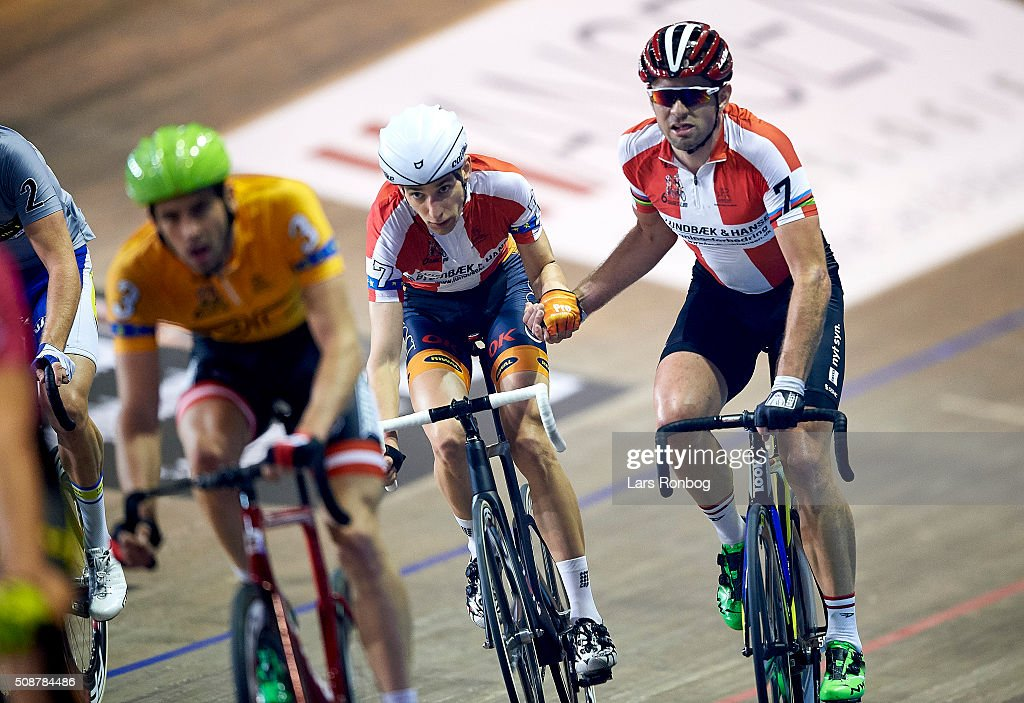 Jesper Morkov and Alex Rasmussen in action during day three at the Copenhagen Six Days Race Cycling at Ballerup Super Arena on February 6, 2016 in Ballerup, Denmark.