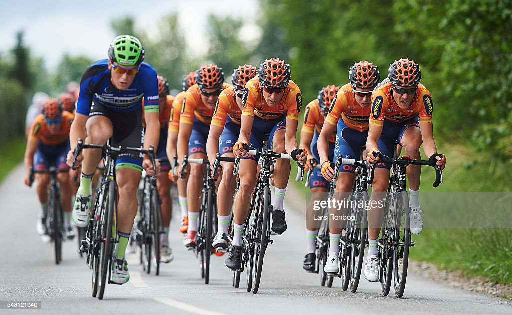 Jesper Morkov (Mid) of Riwal Platform Cycling Team leads the peloton during the Elite Men Road Race Championships on day three of the Danish Cycling Championships on June 26, 2016 in Vordingborg, Denmark.