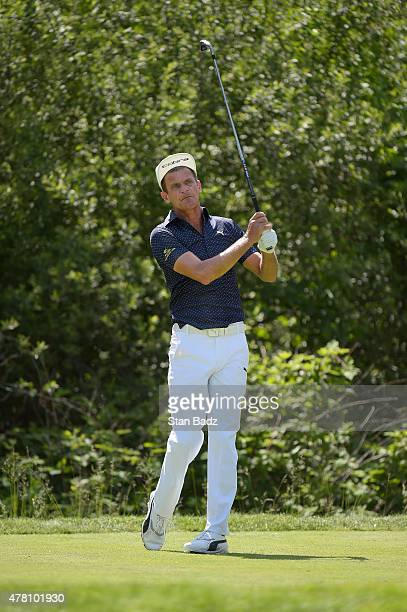 Jesper Parnevik hits a drive on the seventh hole during the third round of the Champions Tour Constellation SENIOR PLAYERS Championship at Belmont...
