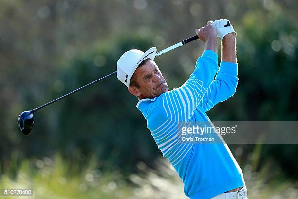Jesper Parnevik hits a tee shot on the 18th hole during the final round of the 2016 Chubb Classic at the TwinEagles Club on February 14 2016 in...