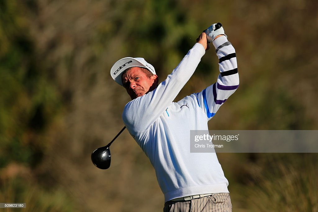 <a gi-track='captionPersonalityLinkClicked' href=/galleries/search?phrase=Jesper+Parnevik&family=editorial&specificpeople=171510 ng-click='$event.stopPropagation()'>Jesper Parnevik</a> of Sweden hits a tee shot on the 11th hole during the first round of the 2016 Chubb Classic at the TwinEagles Club on February 12, 2016 in Naples, Florida.