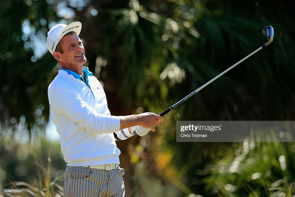 <a gi-track='captionPersonalityLinkClicked' href=/galleries/search?phrase=Jesper+Parnevik&family=editorial&specificpeople=171510 ng-click='$event.stopPropagation()'>Jesper Parnevik</a> of Sweden hits a tee shot on the second hole during the first round of the 2016 Chubb Classic at the TwinEagles Club on February 12, 2016 in Naples, Florida.