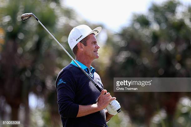 Jesper Parnevik of Sweden hits a tee shot on the second hole during the second round of the 2016 Chubb Classic at the TwinEagles Club on February 13...