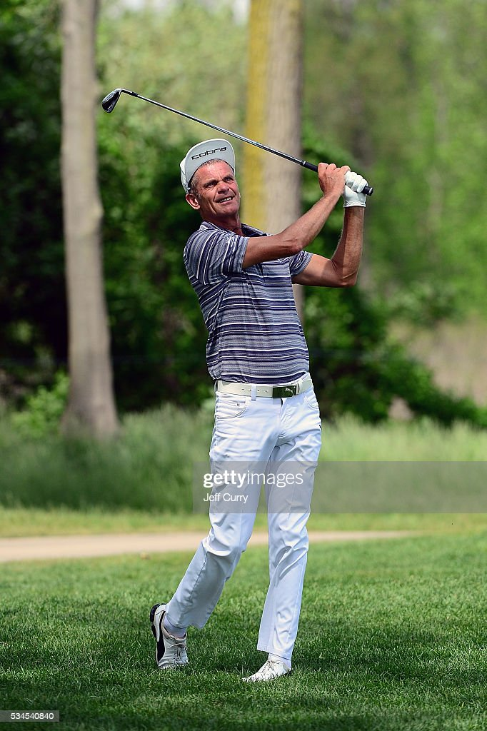 Jesper Parnevik of Sweden hits from the 16th rough during the first round 2016 Senior PGA Championship presented by KitchenAid at the Golf Club at Harbor Shores on May 26, 2016 in Benton Harbor, Michigan.