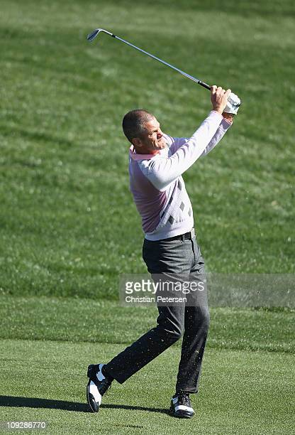Jesper Parnevik of Sweden hits his second shot during the first round of the Waste Management Phoenix Open at TPC Scottsdale on February 4 2011 in...