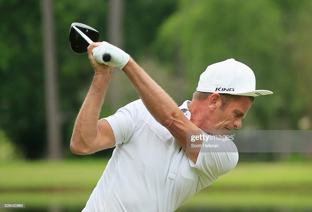 Jesper Parnevik of Sweden hits his tee shot on the 13th hole during the final round of the Insperity Invitational at The Woodlands Country Club on...