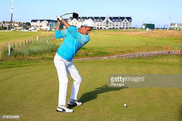 Jesper Parnevik of Sweden in action during practice for the Senior Open Championship previews played at Carnoustie Golf Club on July 20 2016 in...