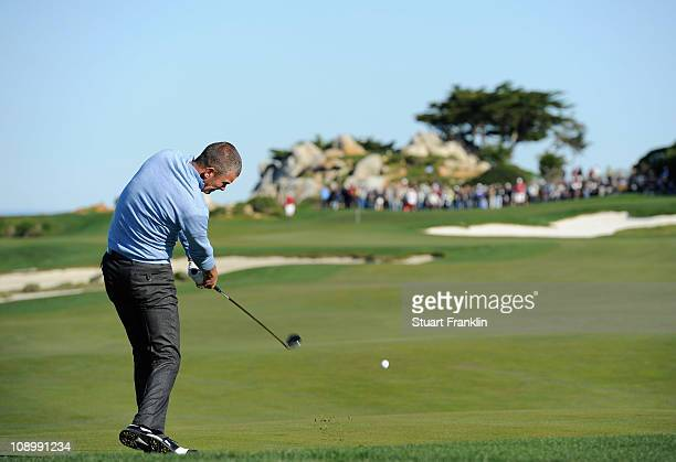 Jesper Parnevik of Sweden plays a shot during the first round of the ATT Pebble Beach National ProAm at Monterey Peninsula Country Club on February...