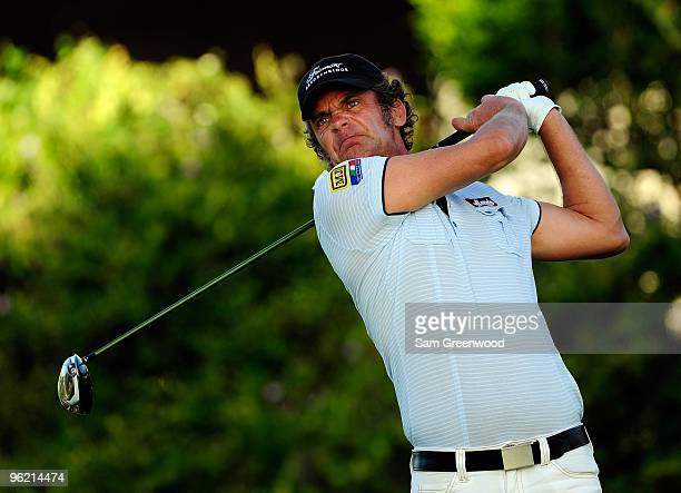 Jesper Parnevik of Sweden plays a shot during the first round of the Sony Open at Waialae Country Club on January 14 2010 in Honolulu Hawaii