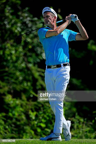 Jesper Parnevik of Sweden plays his shot from the seventh tee during round one of the Puerto Rico Open presented by Banco Popular at Trump...