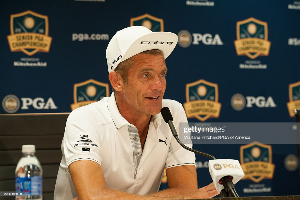 Jesper Parnevik of Sweden speaks during a press conference in the media center at the 77th Senior PGA Championship presented by KitchenAid held at Harbor Shores Golf Club on May 25, 2016 in Benton Harbor, Michigan.