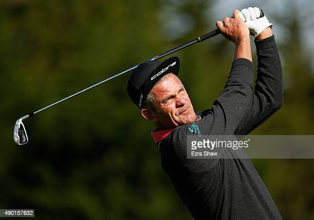 Jesper Parnevik of Sweden tees off on the fourth hole during round two of the Nature Valley First Tee Open at the Pebble Beach Golf Links on...