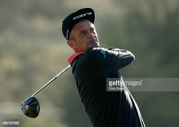 Jesper Parnevik of Sweden tees off on the third hole during round two of the Nature Valley First Tee Open at the Pebble Beach Golf Links on September...