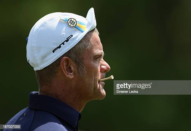 Jesper Parnevik of Sweden wears a pin on his hat in remembrance of the recent Boston bombing attacks during the second round of the RBC Heritage at...