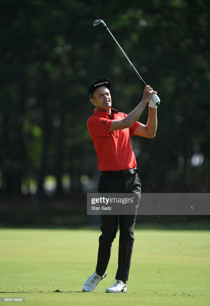 Jesper Parnevik plays a shot on the first hole during the second round of the PGA TOUR Champions Regions Tradition at Greystone Golf & Country Club on May 19, 2017 in Birmingham, Alabama.