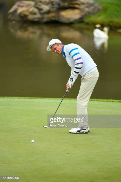 Jesper Parnevik putts on the seventh hole during the first round of the PGA TOUR Champions Bass Pro Shops Legends of Golf at Big Cedar Lodge at Top...