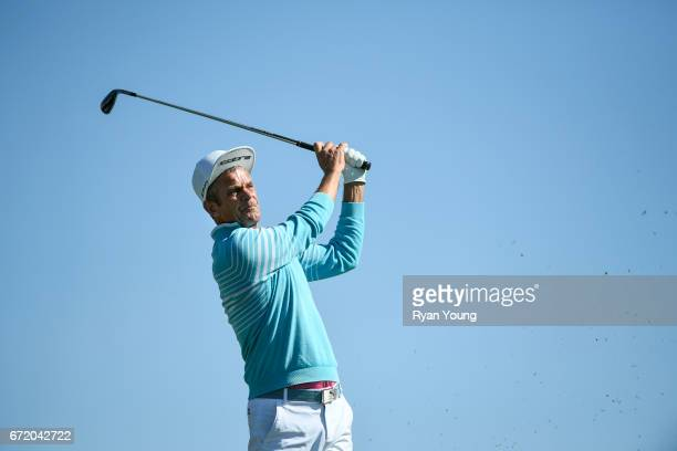 Jesper Parnevik tees off on the ninth hole during the final round of the PGA TOUR Champions Bass Pro Shops Legends of Golf at Big Cedar Lodge at Top...