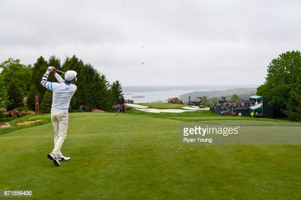 Jesper Parnevik tees off on the ninth hole during the first round of the PGA TOUR Champions Bass Pro Shops Legends of Golf at Big Cedar Lodge at Top...