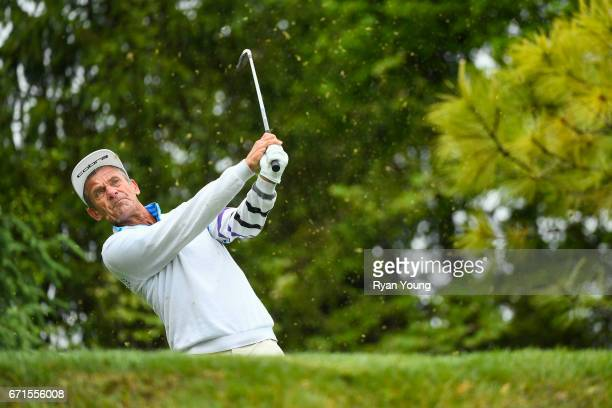Jesper Parnevik tees off on the seventh hole during the first round of the PGA TOUR Champions Bass Pro Shops Legends of Golf at Big Cedar Lodge at...