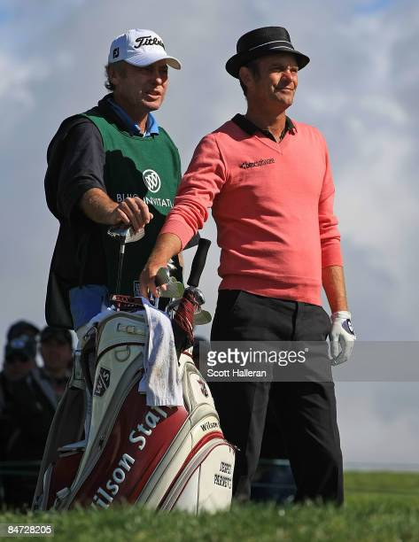 Jesper Parnevik waits on a tee box with his caddie during the final round of the Buick Invitational on the South Course at Torrey Pines Golf Course...