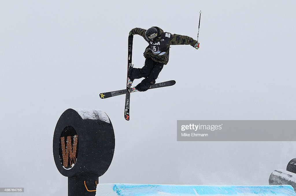 Jesper Tjader of Sweden competes during finals for the mens FIS Ski Slopestyle World Cup at US Snowboarding and Freeskiing Grand Prix on December 21...