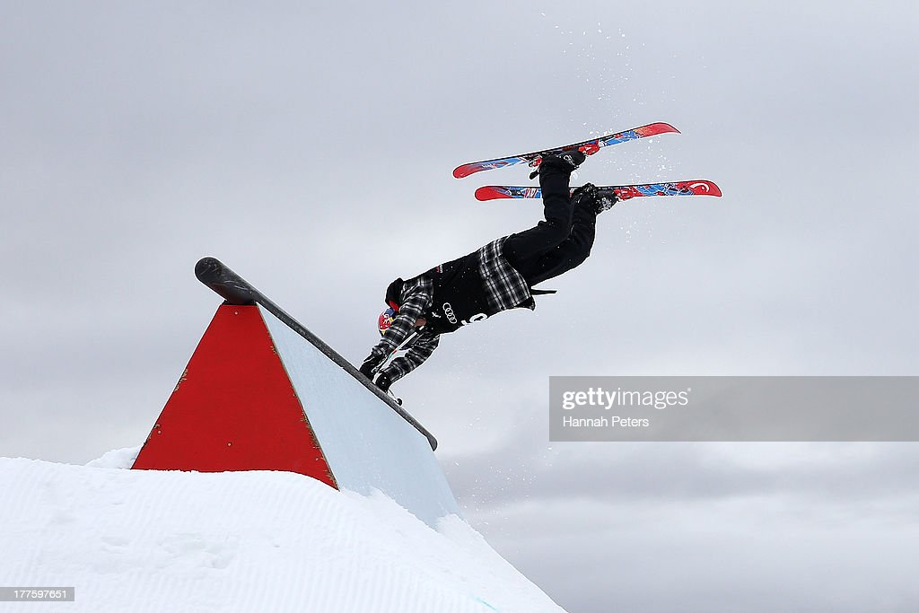 Jesper Tjader of Sweden competes in the warm up ahead of the FIS Freestyle Ski Slopestyle World Cup Finals during day 11 of the Winter Games NZ at...