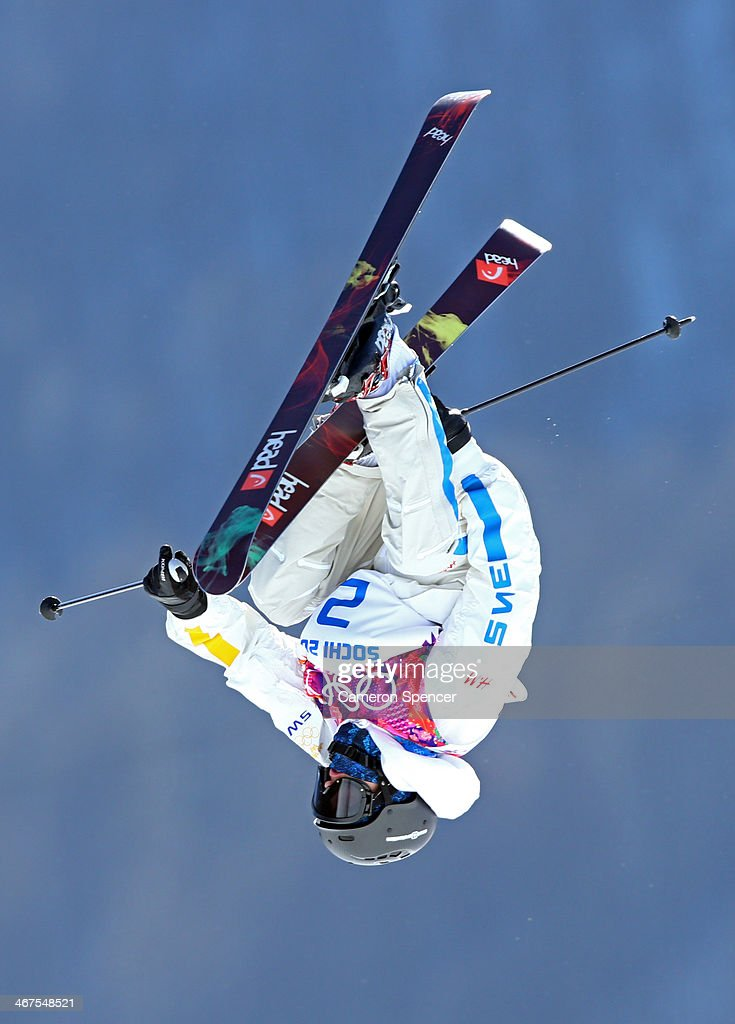 Jesper Tjader of Sweden trains during a Ski Slopestyle official training session ahead of the the Sochi 2014 Winter Olympics at Rosa Khutor Extreme Park on February 7, 2014 in Sochi, Russia.
