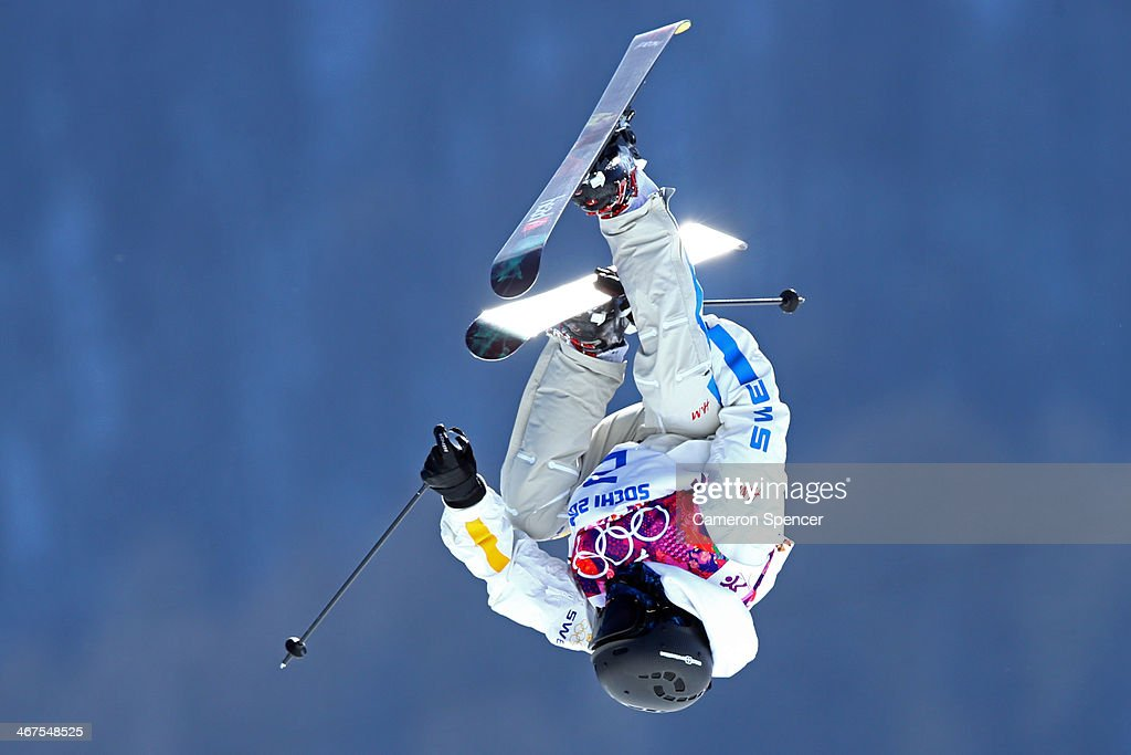 Jesper Tjader of Sweden trains during a Ski Slopestyle official training session ahead of the the Sochi 2014 Winter Olympics at Rosa Khutor Extreme...