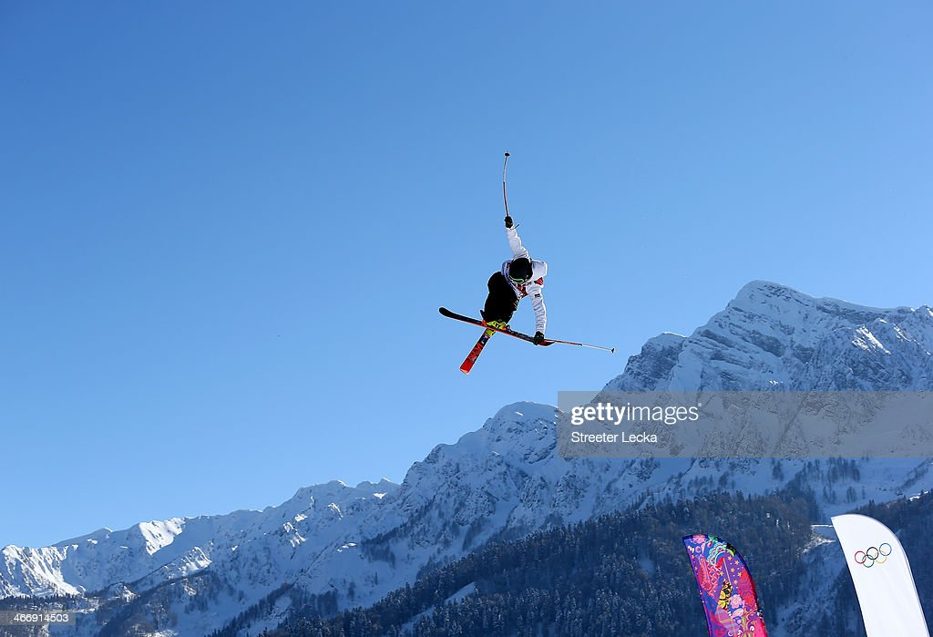 Jesper Tjader of Sweden trains during Ski Slopestyle practice at the Extreme Park at Rosa Khutor Mountain ahead of the Sochi 2014 Winter Olympics on February 5, 2014 in Sochi, Russia.