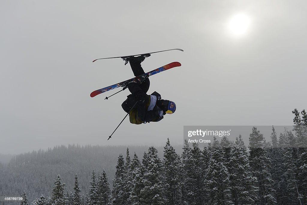 Jesper Tjader, SWE, launches over the third jump at the U.S. Grand Prix slopestyle finals at the Copper Mountain ski area Saturday afternoon, December 21, 2013.