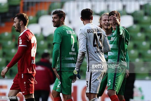Jesper Verlaat and Dominic Volkmer of Bremen celebrates after the 3 liga match between Werder Bremen II and RW Erfurt at Weserstadion on October 23...