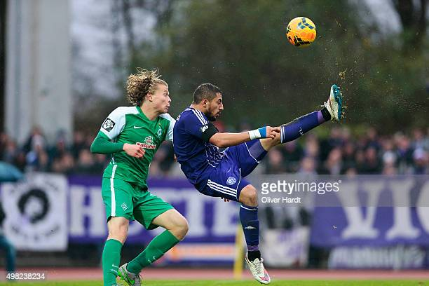 Jesper Verlaat of Bremen and Halil Savran of Osnabrueck compete for the ball during the 3Liga match between Werder Bremen II and VfL Osnabrueck on...