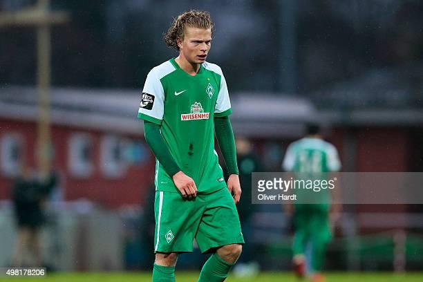 Jesper Verlaat of Bremen appears frustrated after the 3Liga match between Werder Bremen II and VfL Osnabrueck on November 21 2015 in Bremen Germany