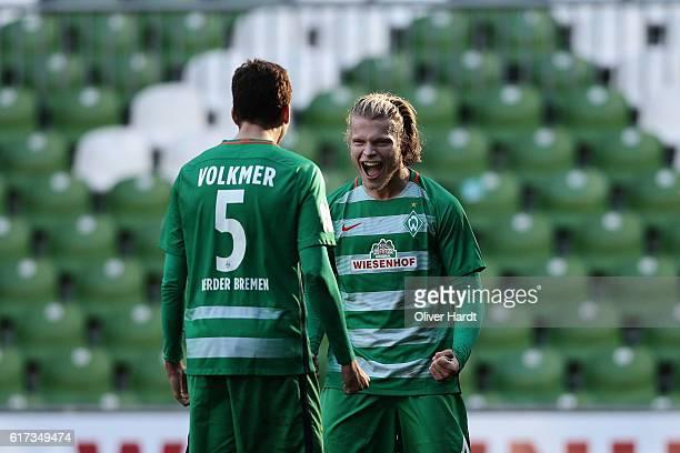 Jesper Verlaat of Bremen celebrates after the 3 liga match between Werder Bremen II and RW Erfurt at Weserstadion on October 23 2016 in Bremen Germany