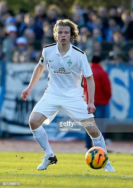 Jesper Verlaat of Bremen II plays the ball during the match between Werder Bremen II and Hansa Rostock at Weserstadion 'Platz 11' on December 13 2015...