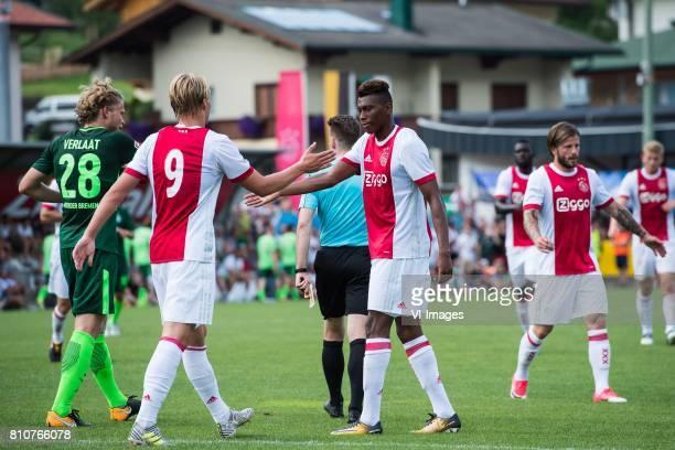 Jesper Verlaat of SV Werder Bremen Kasper Dolberg of Ajax Mateo Cassierra of Ajax during the friendly match between Ajax Amsterdam and SV Werder...