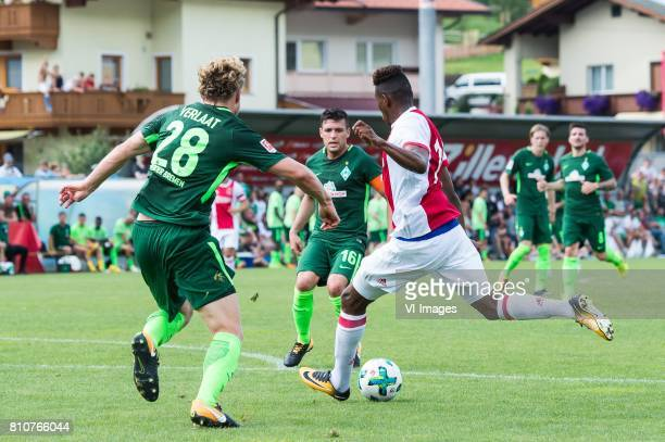 Jesper Verlaat of SV Werder Bremen Mateo Cassierra of Ajax Zlatko Junuzovic of SV Werder Bremen during the friendly match between Ajax Amsterdam and...
