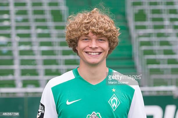 Jesper Verlaat poses during the official team presentation of Werder Bremen II at Weserstadium on July 10 2015 in Bremen Germany