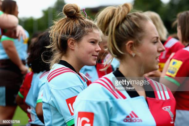 Jess Breach prepares ahead of the team photograph during the Harlequins Ladies Squad Photo call for the 2017/18 Tyrrells Premier 15s Season at Surrey...