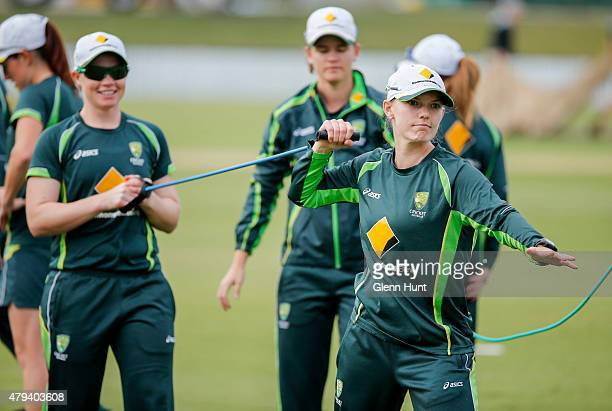 Jess Cameron and Kristen Beams of the Southern Stars warm up before the cricket match between the National Indigenous Development Squad and the...